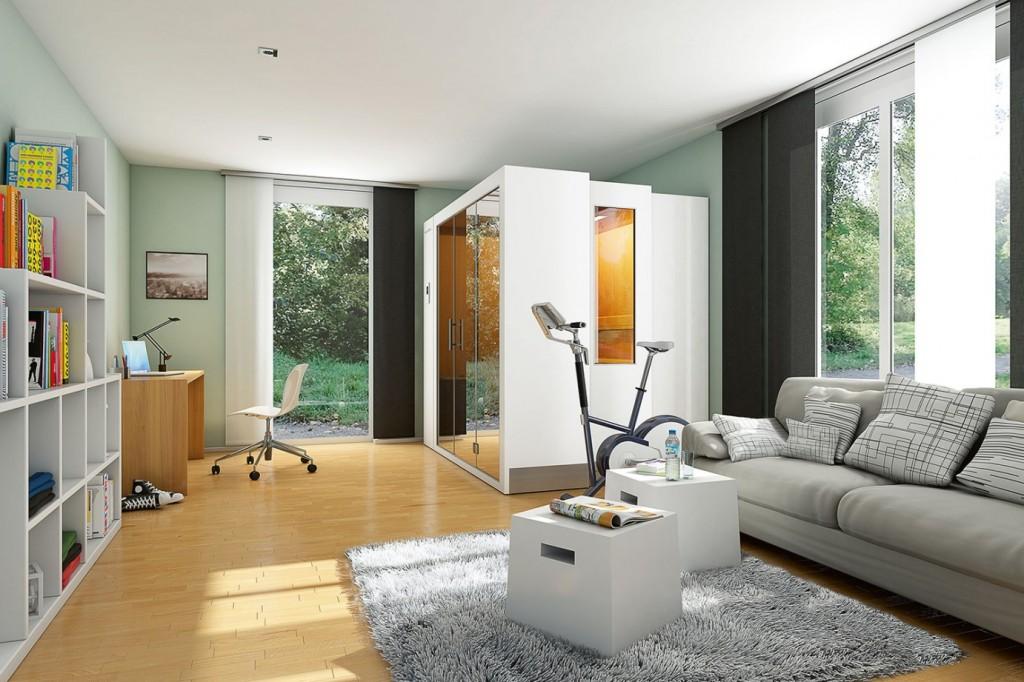 klafs s1 retractable sauna room lifestyle for men. Black Bedroom Furniture Sets. Home Design Ideas